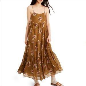 NWT Madewell Cami Tier Midi Dress Metallic Corsage